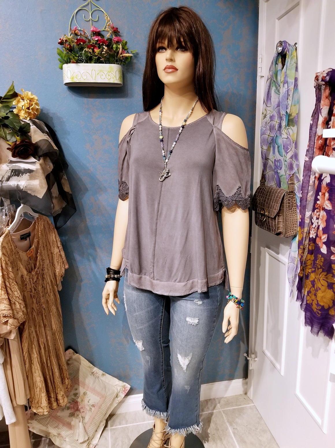 Mineral Washed Open Shoulder High Low Top - Gray