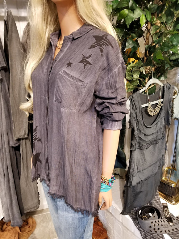 Dyed Gray Frayed Button Up Tunic Shirt
