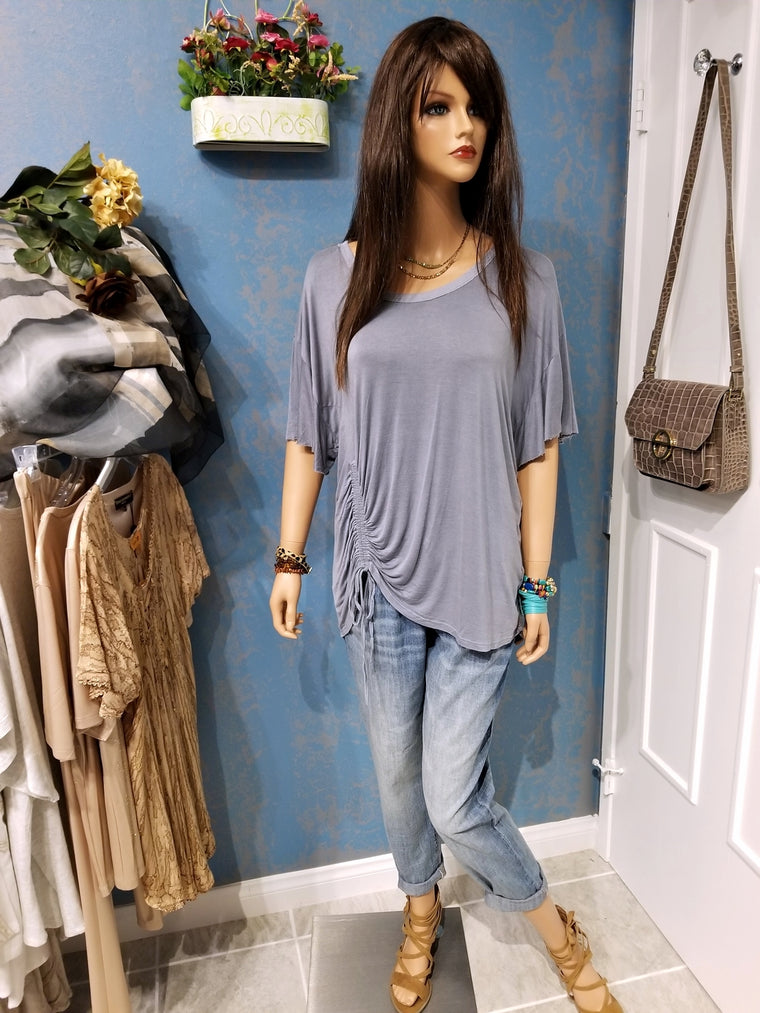 Basic Knit Short Ruffle Sleeve Scoop Neck Top - Denim