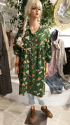 Green Cotton Robe Style Maxi Dress with 3/4 Sleeves