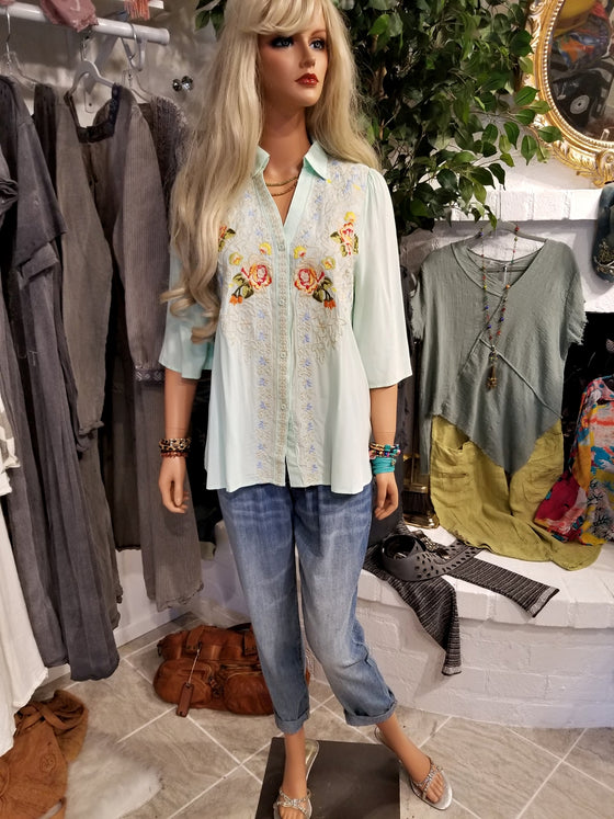 Embroidered Mint Tunic Blouse