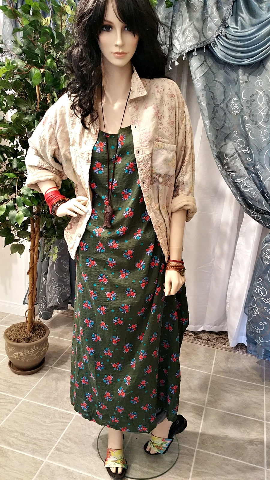 Dress Vintage Floral Half Sleeve Green Cotton Maxi Boho Dress - One Size