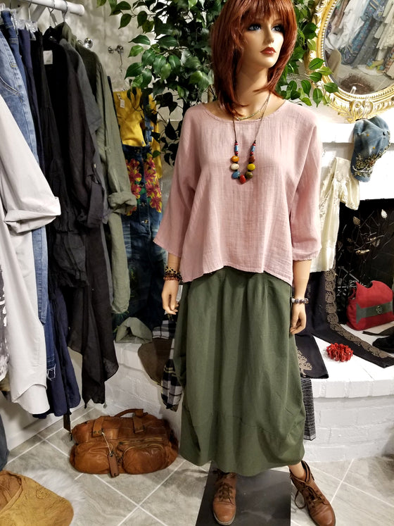 Pink Linen Top with 3/4 Sleeves