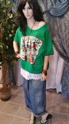 Green Oversized Layered T-Shirt Bohemian Style