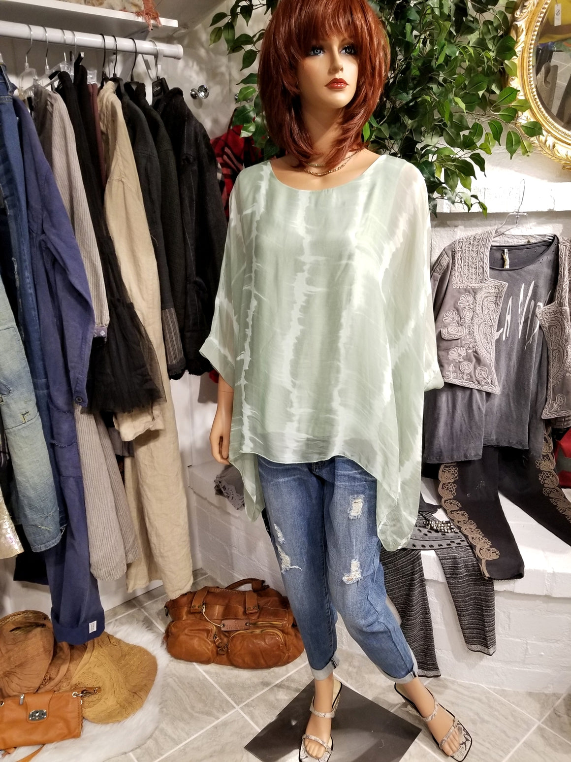 Italian Silk Top with Tie Dye Print - Light Green