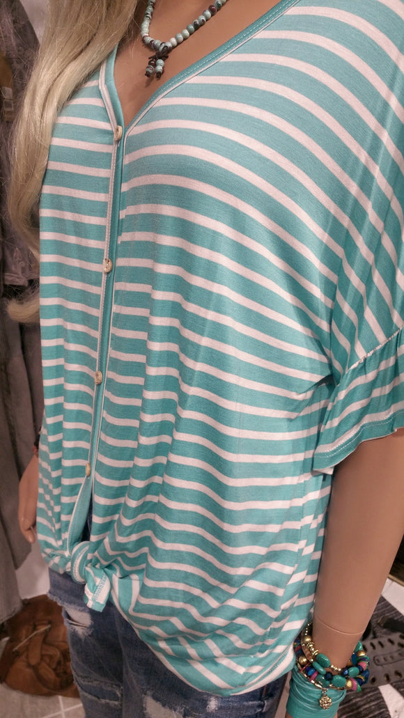 Striped Button Down Knot Front Top