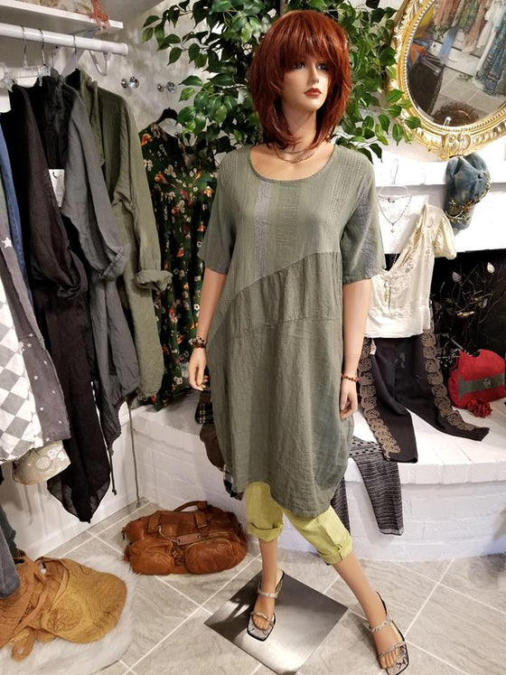 Green Italian Linen Tunic Dress