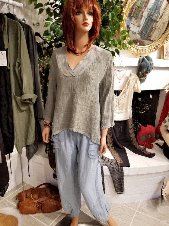 Green V-Neck Linen Top