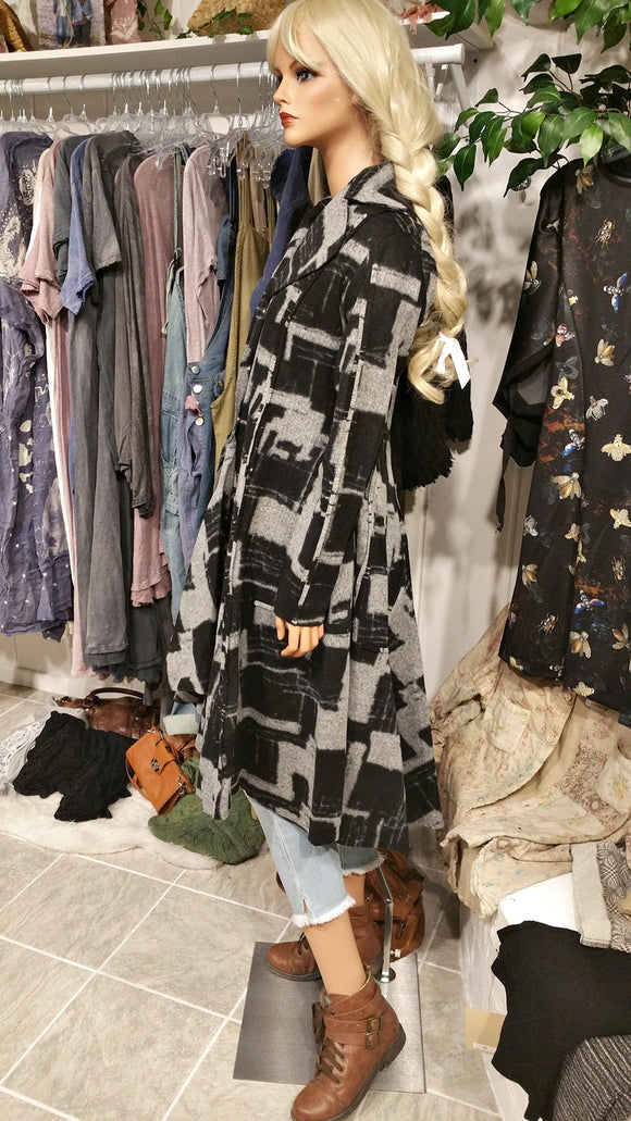 Black & Gray Maxi Coat