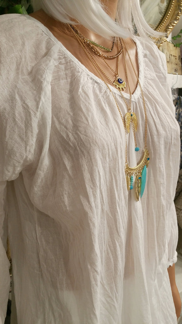 White Cotton Beach Tunic Top by Siganka