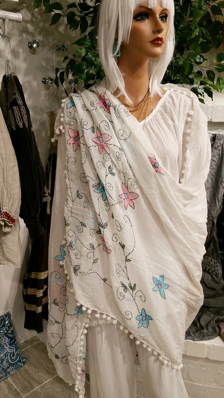 Summer White Large Cotton Scarf with Pompoms and Embroidered Flowers