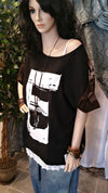 Black Oversized Bohemian Style Layered T-Shirt