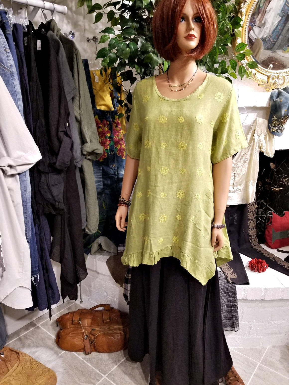 Green Linen Tunic Top with Embroidery