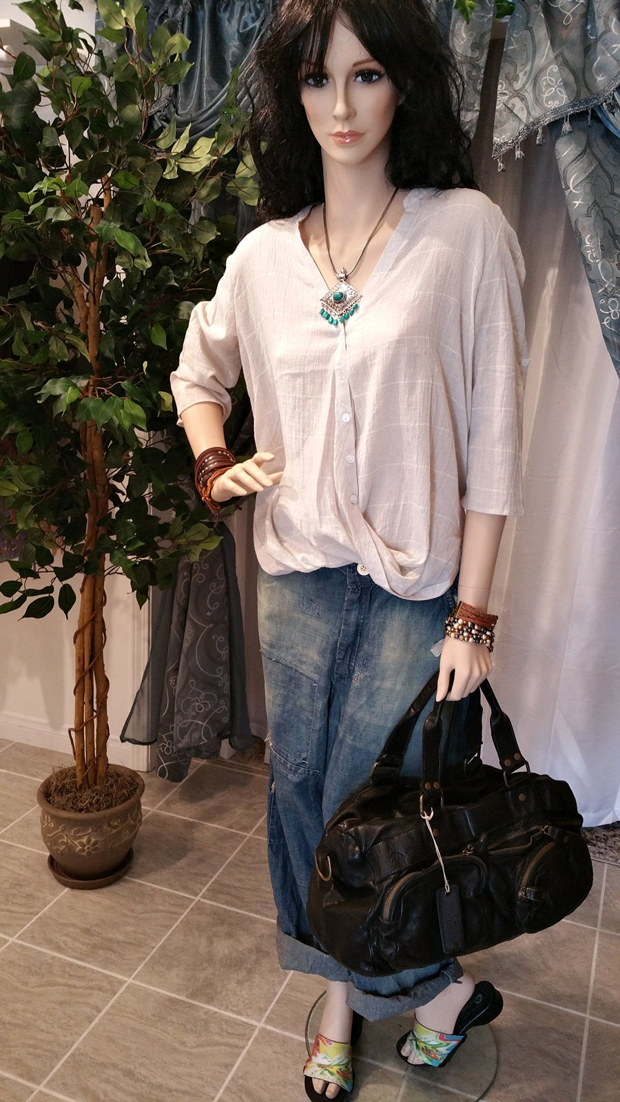Gray Gathered Front Hem Bohemian Blouse