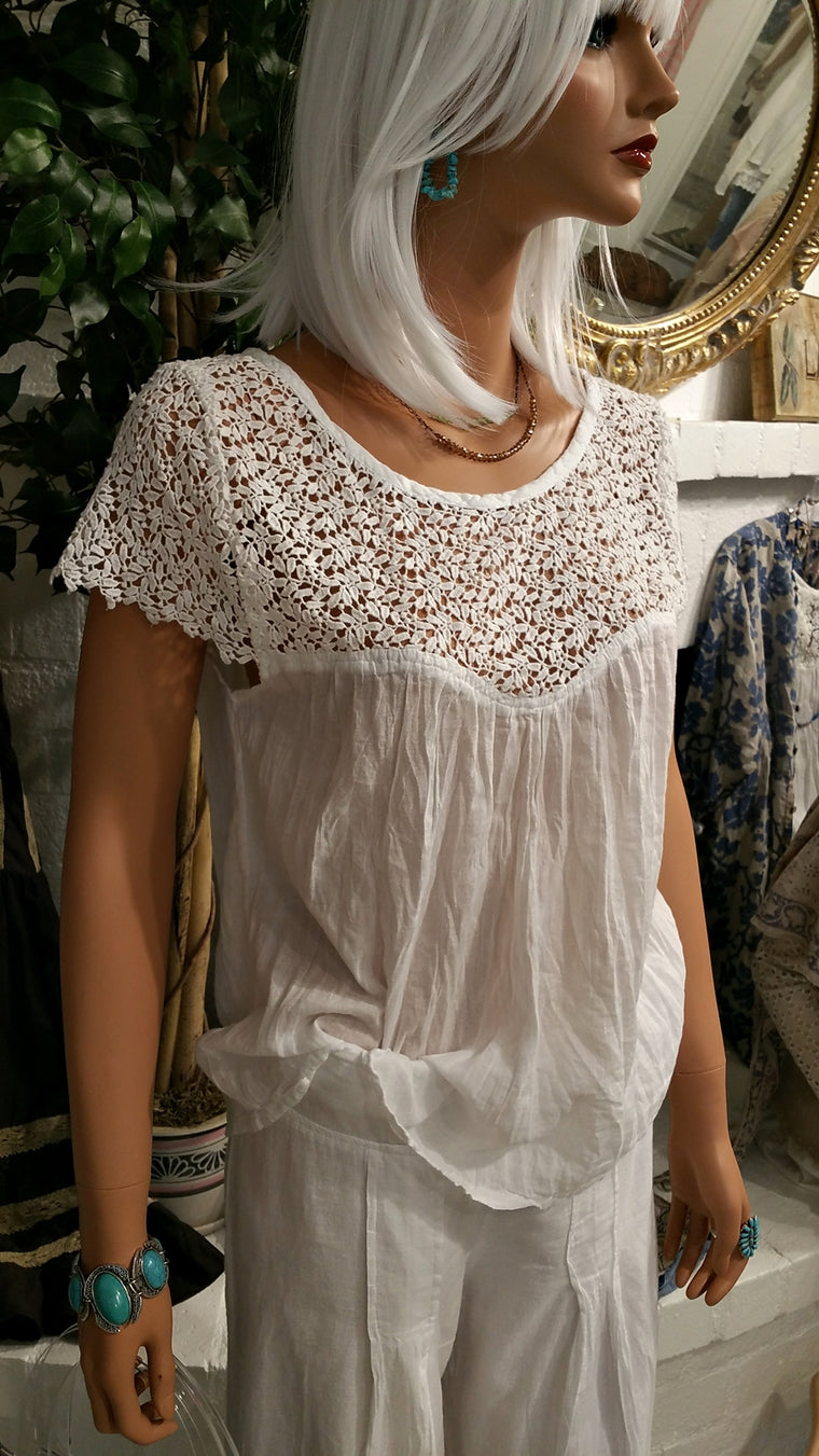 Short Sleeve White Lace Soft Cotton Beach Blouse - Lynette by Siganka