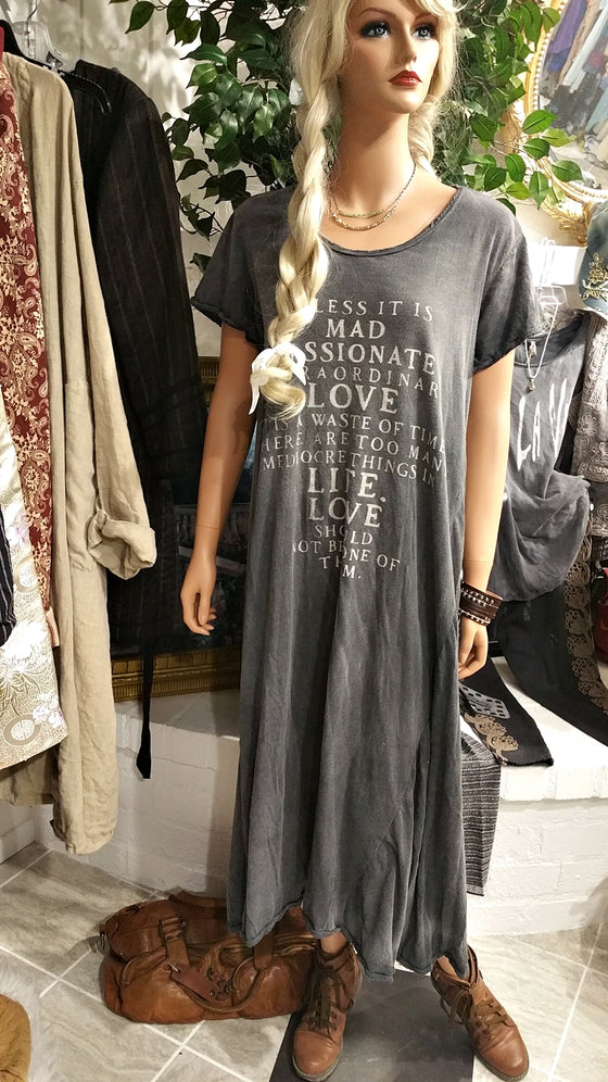 Gray Cotton Mad Love T-Shirt Dress by Magnolia Pearl