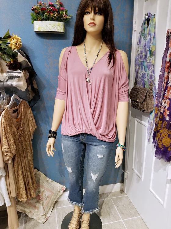 Mauve Open Shoulder Plus Size Top