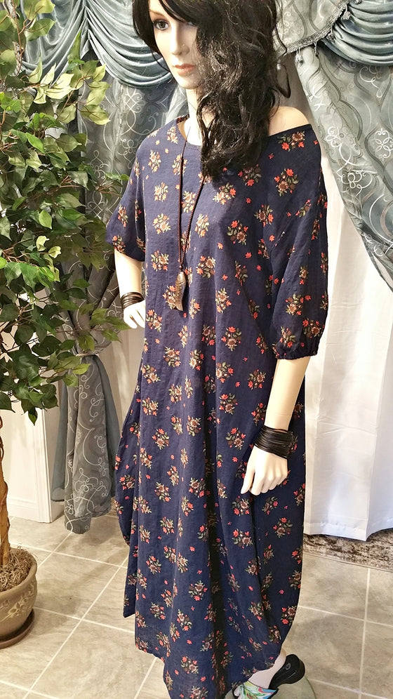 Vintage Floral Half Sleeve Blue Cotton Maxi Boho Dress - One Size