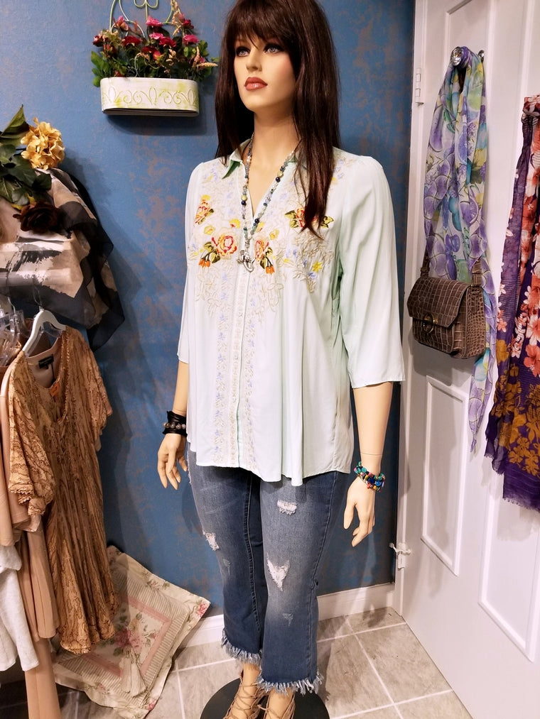 Plus Size Embroidered Mint Tunic Blouse