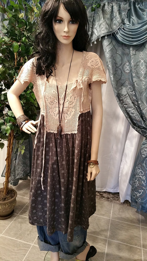 Boho Vintage Dress with Crochet Top - Brown