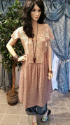 Boho Vintage Dress with Crochet Top - Cullen Pink