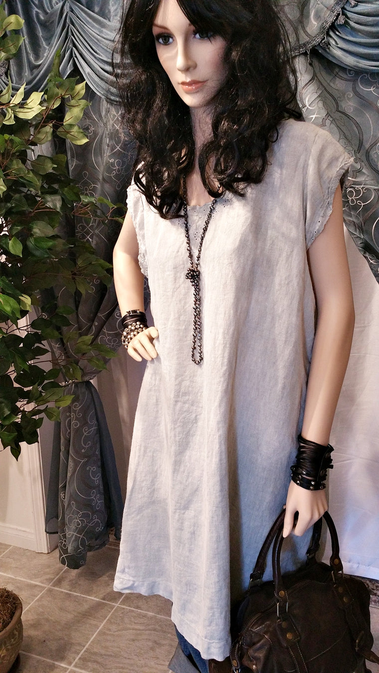Magnolia Pearl French Linen Natural Color Dress - Vintage Style