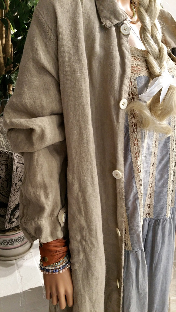 European Linen Wells Painters Smock Coat Robe/Jacket by Magnolia Pearl