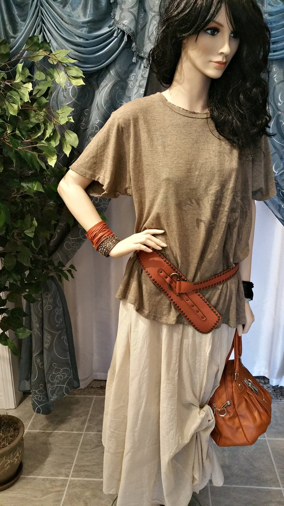 Beige Cotton Maxi Skirt - Diane by Siganka