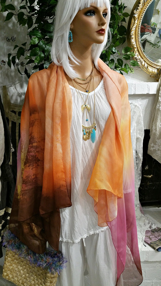 Extra Large Multi Orange Italian Scarf