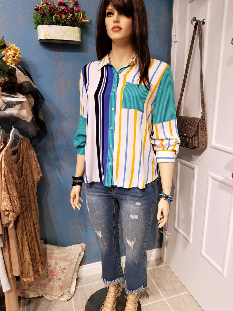 Multicolored Stripe Collared Button Up Top