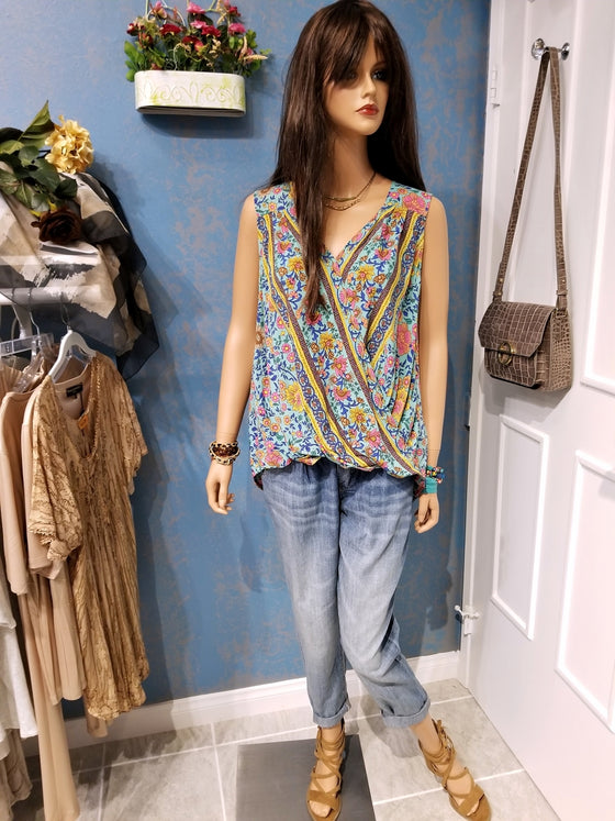 Sleeveless Multi-color Floral Print Crossbody Top