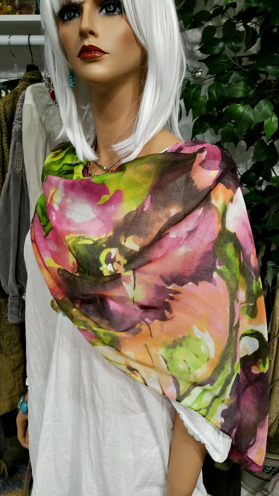 Pink Green Water Flower Italian Scarf
