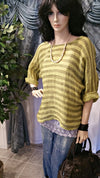 Mustard Broad Stripe Linen Lagenlook Top One Size/Plus Size - Boho Style