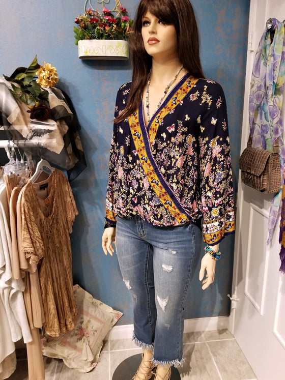 Long Sleeve Floral V-Neck Blouse - Navy