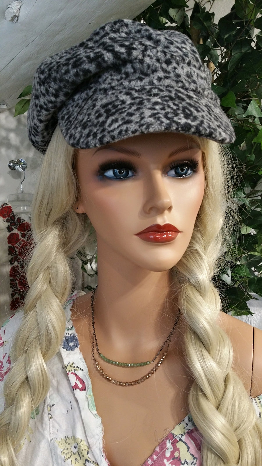Gray Cheetah Cabby Newsboy Hat with Stripes