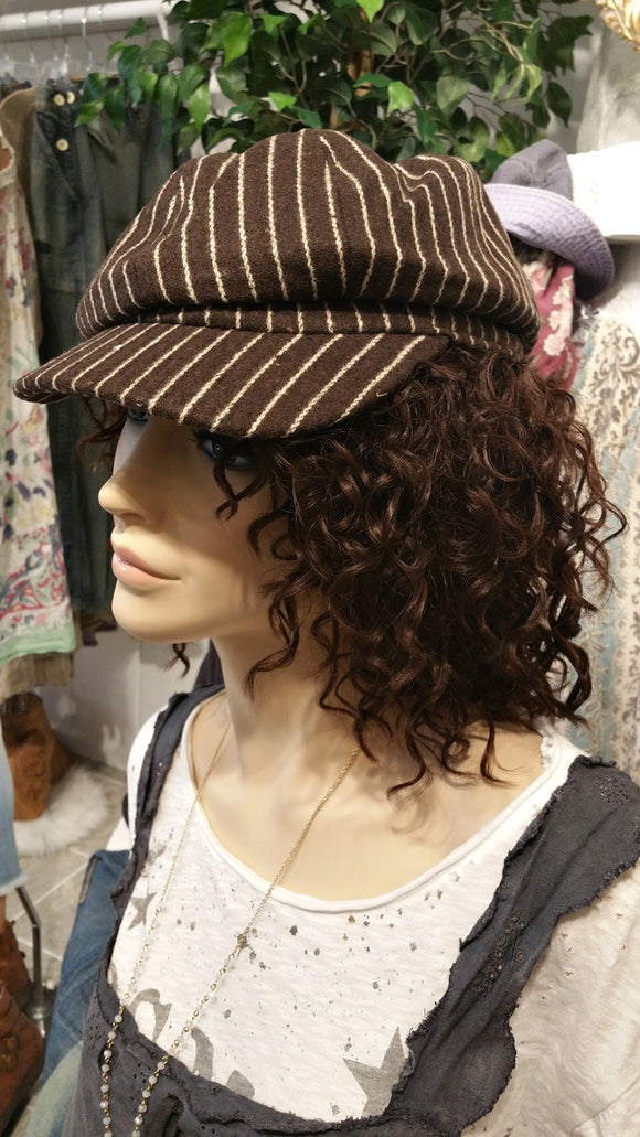 Brown Cabby Newsboy Hat with Stripes