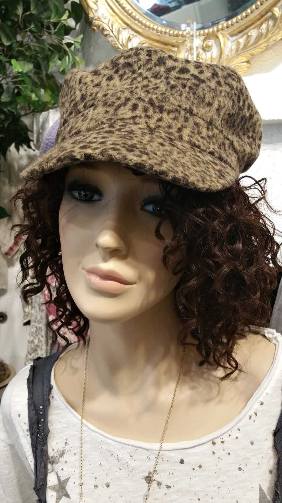Brown Cheetah Cabby Newsboy Hat with Stripes