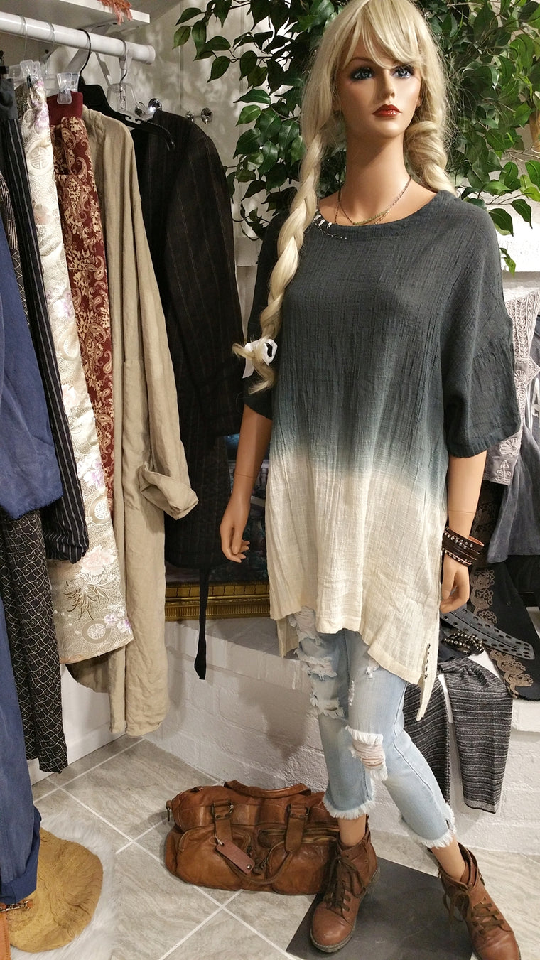 Ombre Style Cotton Linen Tunic Shirt