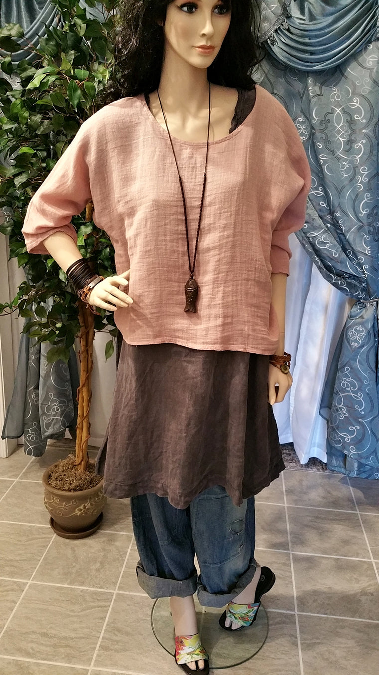 One Size Light Nude Lagenlook Linen Layered T-Shirt - Bohemian Style