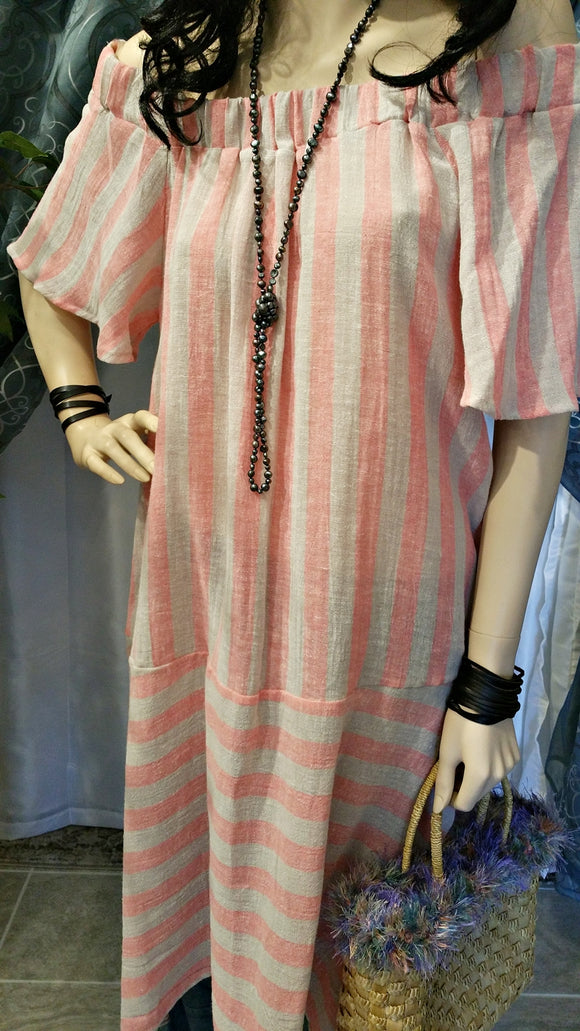 Pink Stripe Off Shoulder Linen Plus Size Dress - Boho