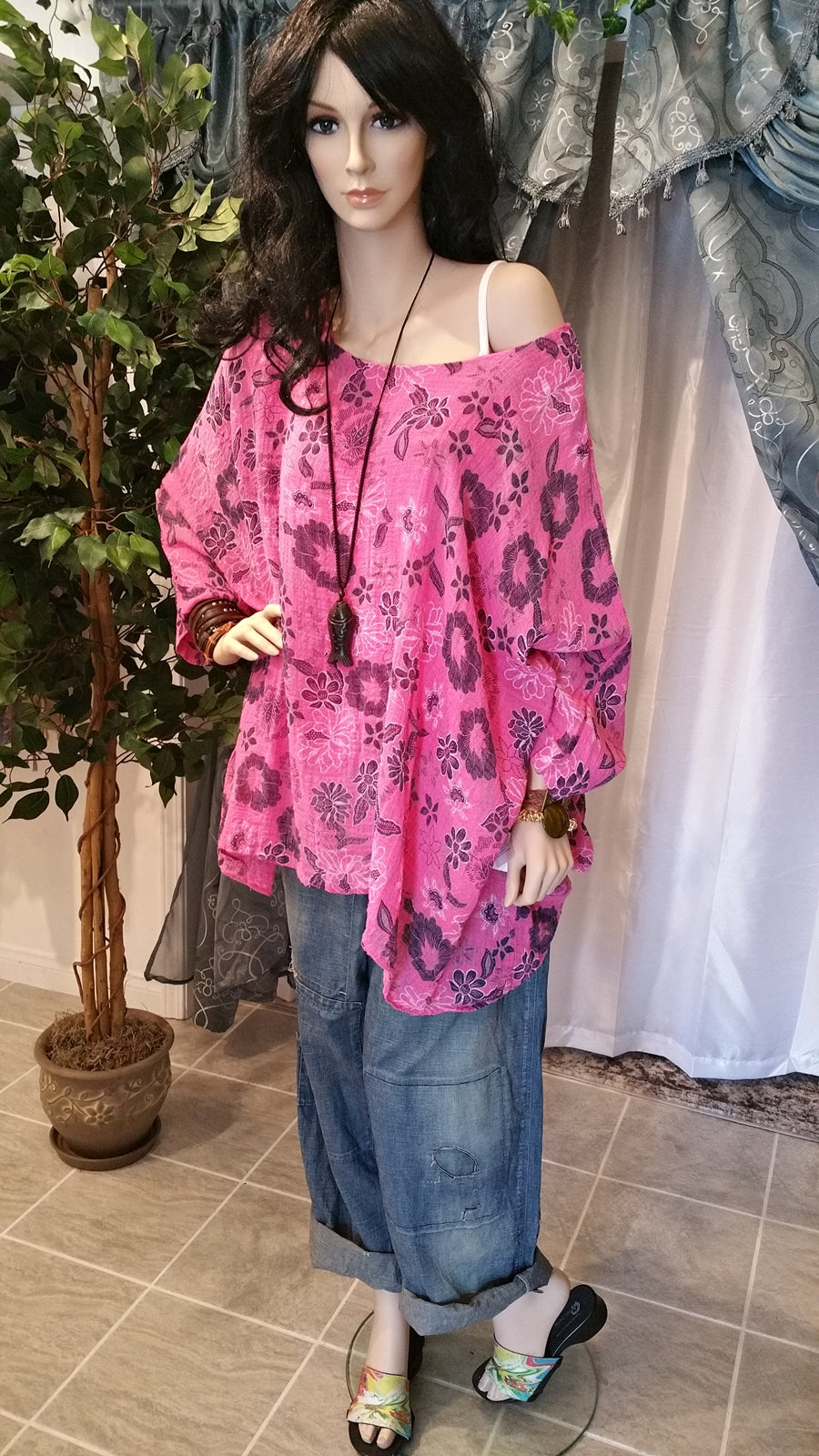 Plus Size Soft Pink Floral Cotton Boho Tunic Top  (One Size)