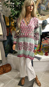 Cotton Embroidered Long Sleeve Boho Tunic - Pink