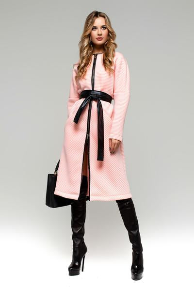 UGHI Pink Fashion Coat with Wide Belt
