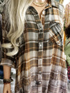 Plus Size Ombre Plaid Shirt Dress - Olive
