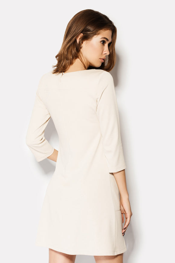 Beige Shift Dress - Kollekcio  - 1