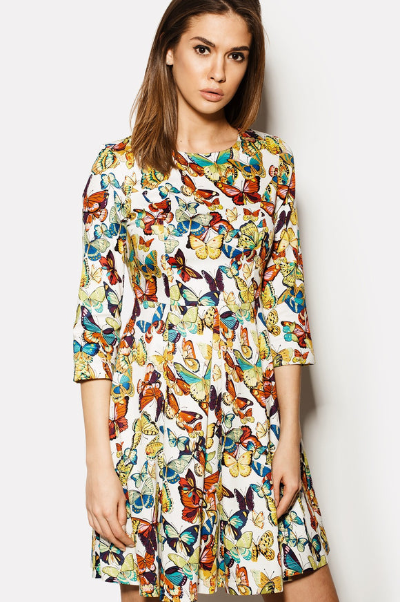 1/2 Sleeve A-Line Butterfly Dress - Kollekcio  - 1