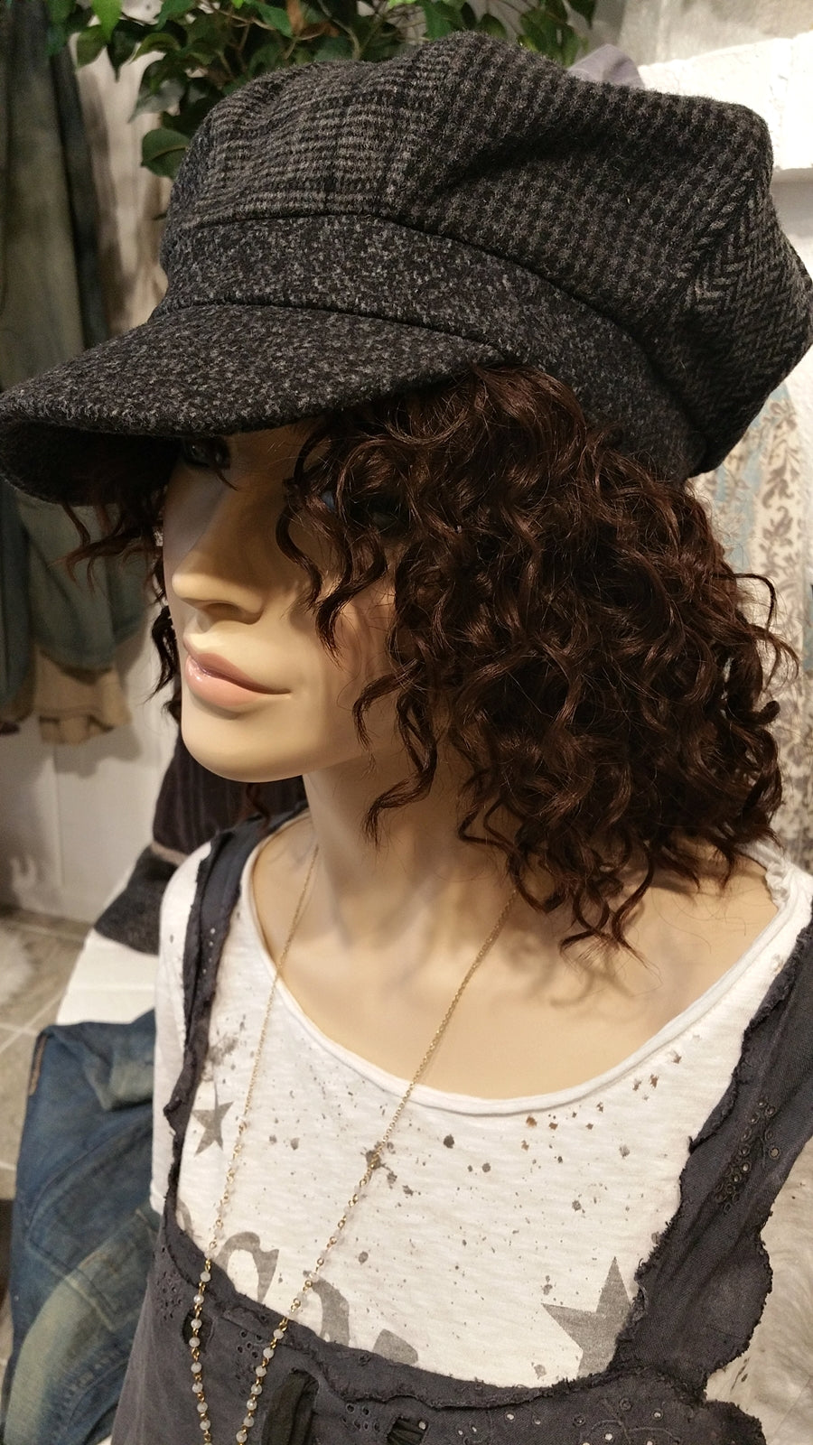 Checkered Cabby Newsboy Hat with Stripes