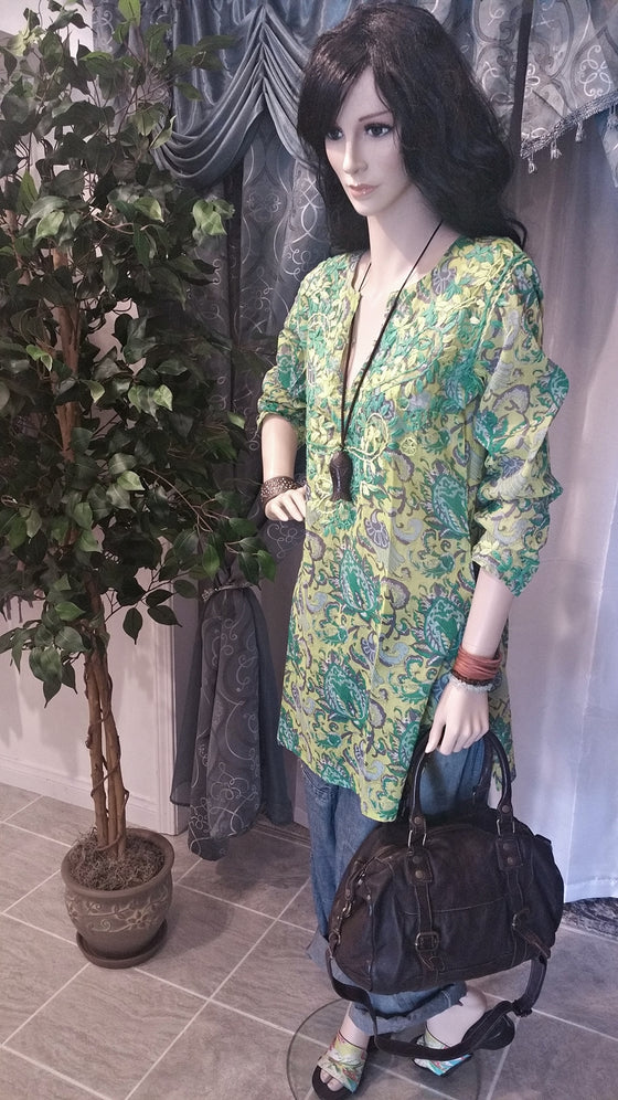 Cotton Embroidered Long Sleeve Boho Tunic - Green