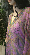 100% Silk Bead Embroidered Long Sleeve Boho Tunic - Lavender