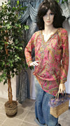 100% Silk Bead Embroidered Long Sleeve Boho Tunic - Pink